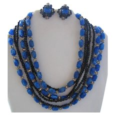 Vintage Vendome Bead and Crystal Necklace and Earring Set