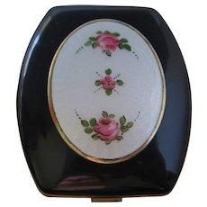Vintage Guilloche Enamel Black -White-Pink Floral Face Powder Compact