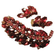 Vintage Red and Pink Rhinestone Brooch-Pin and Earrings Set