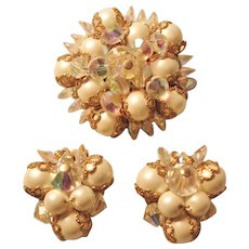Vintage Simulated Pearl and Crystal Brooch-Pin and Earring Set