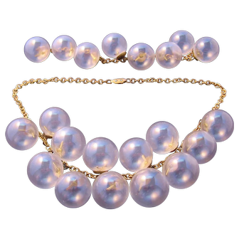 Very Rare Art Deco Brass and Glass Bubble Necklace Set