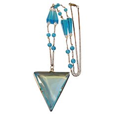 Vintage Art Deco Light Blue Flapper Glass Bead and Triangle Pendant Necklace