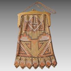 "Vintage Whiting and Davis ""El Sur"" Enamel Mesh Carpet Design Art Deco Handbag"