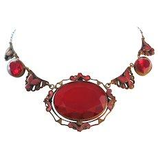 Vintage Czech Neiger Red Glass-Enamel Brass Necklace