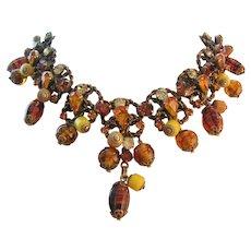 Vintage Art Glass and Rhinestone Bib Necklace