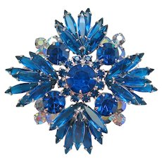 Vintage Juliana Blue and Aurora Rhinestone Brooch Pendant