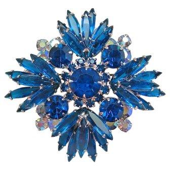 Vintage Juliana Blue and Aurora Rhinestone Brooch Pendant