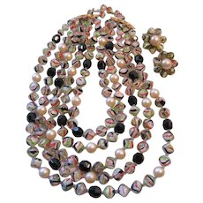 Vintage Castlecliff Five Strand Art Glass Necklace and Earrings Set