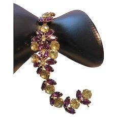 Vintage Kramer Purple and Yellow Rhinestone Bracelet