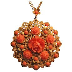 Vintage Brass Filigree Faux Coral Rose Bud Flower Pendant-Necklace