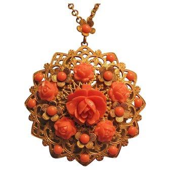 Vintage Brass Filigree Faux Coral Rose Bud Flower Pendant-Necklace