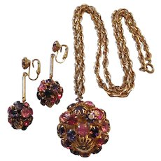 Vintage Pink and Purple Disco Ball Necklace and Earrings Set