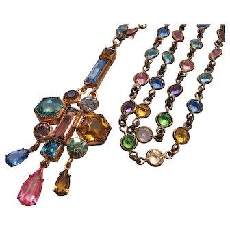 Vintage Czech Pastel Crystal Bezel Set Rosary Style Necklace Pendant