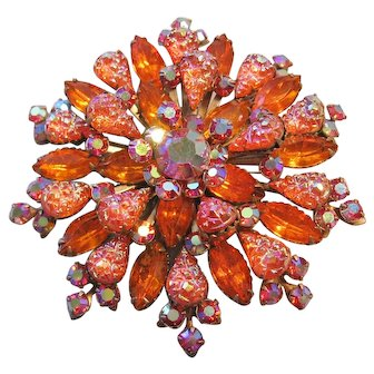 Vintage Large Orange Rhinestone-Art Glass Brooch-Pin