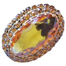Vintage Czech Stacked Glass Brooch-Pin