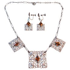 Vintage Art Deco Silver tone Filigree and Amber Glass Necklace and Earrings Set