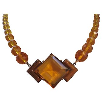 Vintage Art Deco Amber and Brown Satin Glass Crystal Necklace