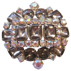 Vintage Weiss Smokey and Clear Rhinestone Brooch-Pin