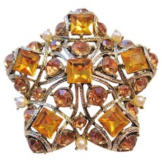 Vintage Amber Rhinestone and Simulated Pearl Star Brooch-Pin