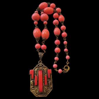 Vintage Brass Art Deco Czech Coral Colored Art Glass Necklace