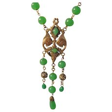 Vintage Art Deco Czech Flapper Brass Fish and Fountain with Green Glass Beads Necklace