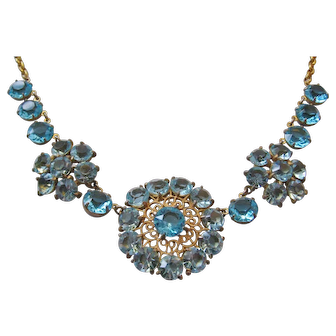 Vintage Late Art Deco Filagree Brass and Blue Crystal Necklace