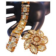 Vintage Amber and Yellow Rhinestone Bracelet and Brooch-Pin Set