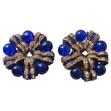 Vintage Art Deco Era Cobalt Blue Glass and Rhinestone Dress Clips