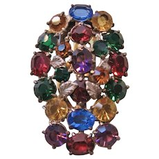 Vintage Multi Colored Open Back Glass Dress Clip