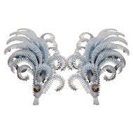 Vintage Large German Plastic and Rhinestone Feather Earrings