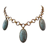 Vintage Robins Egg Art Glass and Brass Necklace