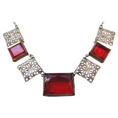 Vintage Art Deco Silver tone and Red Open Back Red Faceted Glass Necklace