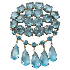Vintage Large Blue Open Back Faceted Glass Brooch-Pin