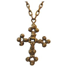 Vintage Brutalist Large Brass Handmade Cross Pendant and Chain