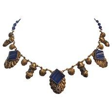 Vintage Art Deco Silver tone and Blue Art Glass Necklace