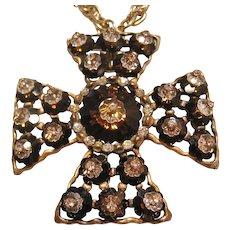 Vintage Huge Vendome Rivoli Rhinestone Maltese  Cross Pendant with Chain