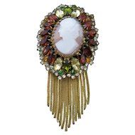 Vintage Hobe Cameo and Rhinestone Brooch-Pin with Metal Fringe