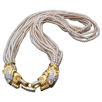 Kenneth J Lane -KJL Faux Pearl with Panther Gold tone and Rhinestone Closure Necklace