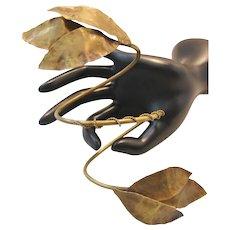 Vintage Brass Artisan Arm Band Leaf Bracelet