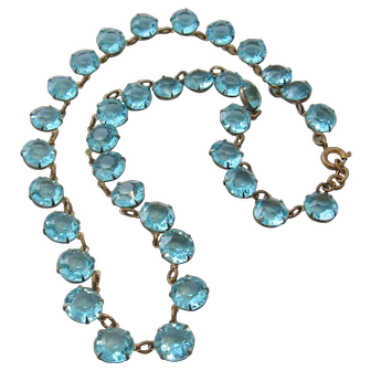 Vintage Riviere Aquamarine Colored Open Back and Brass Crystal Necklace