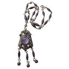 Czech Art Deco-Transitional Brass and Purple Glass Necklace