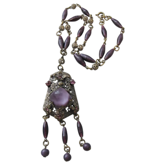 Czech Art Deco-Transitional Brass and Purple Glass Necklace