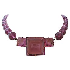 Art Deco Purple Faceted Glass and Bead Necklace