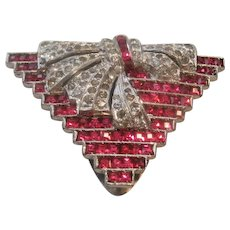 Vintage Rare R. De Rosa Art Deco Style Rhinestone Dress Clip