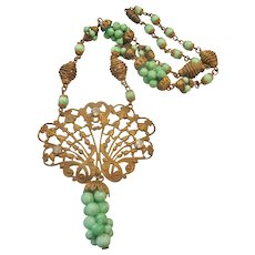 Vintage Brass Peking Glass and Rhinestone Necklace