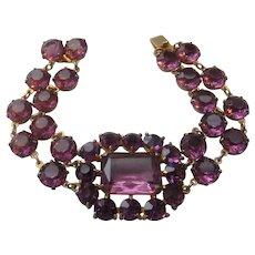 Vintage Deep Purple Open Back Crystal Bracelet