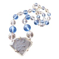 Vintage Art Deco Czech Frosted Etched Glass and Crystal Necklace