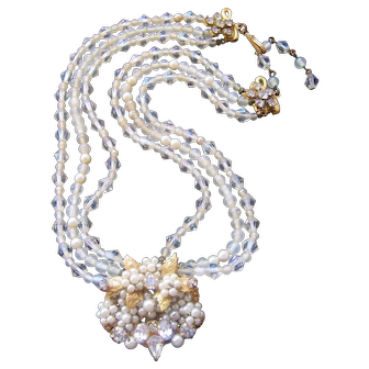Vintage Robert Crystal and Simulated Pearl Necklace