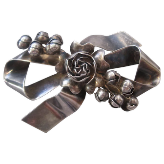 Vintage Hobe Sterling Bow and Flower Brooch-Pin