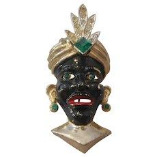 Vintage Blackamoor Face with Turban Headpiece and Earrings Brooch-Pin
